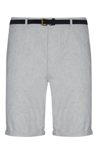 Belted Light Gray Shorts