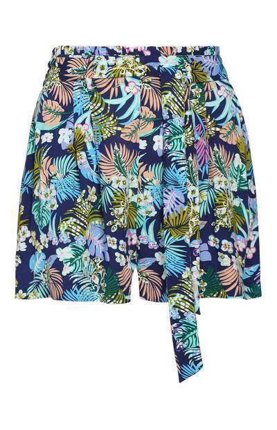 Pantalón corto de flores azul