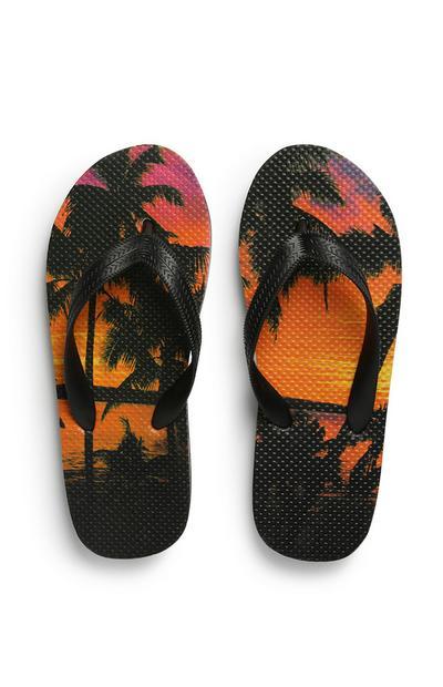 Tongs à imprimé palmiers