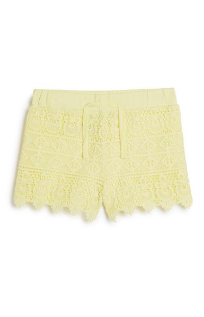 Short citron en crochet fille