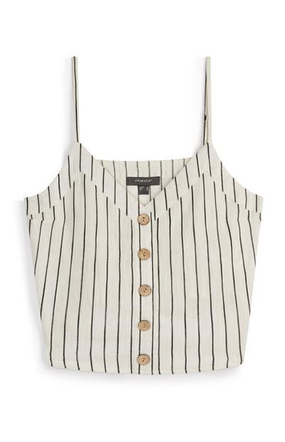 Črtasta lanena majica z naramnicami