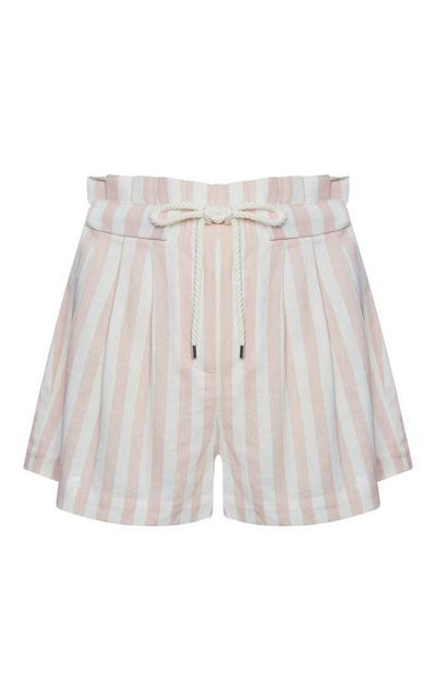 Pantalones cortos de lino a rayas rosa