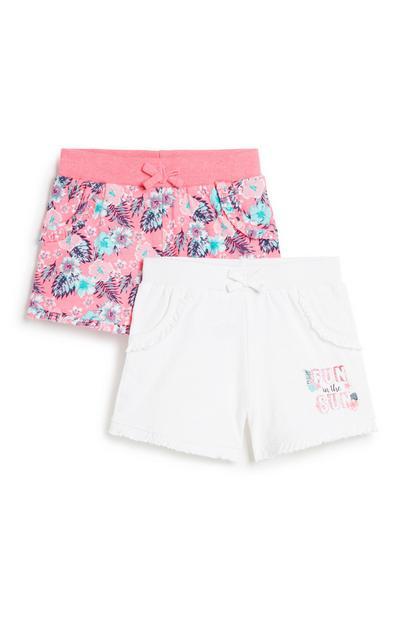 Set gebloemde shorts, meisjes