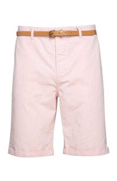 Short rose avec ceinture
