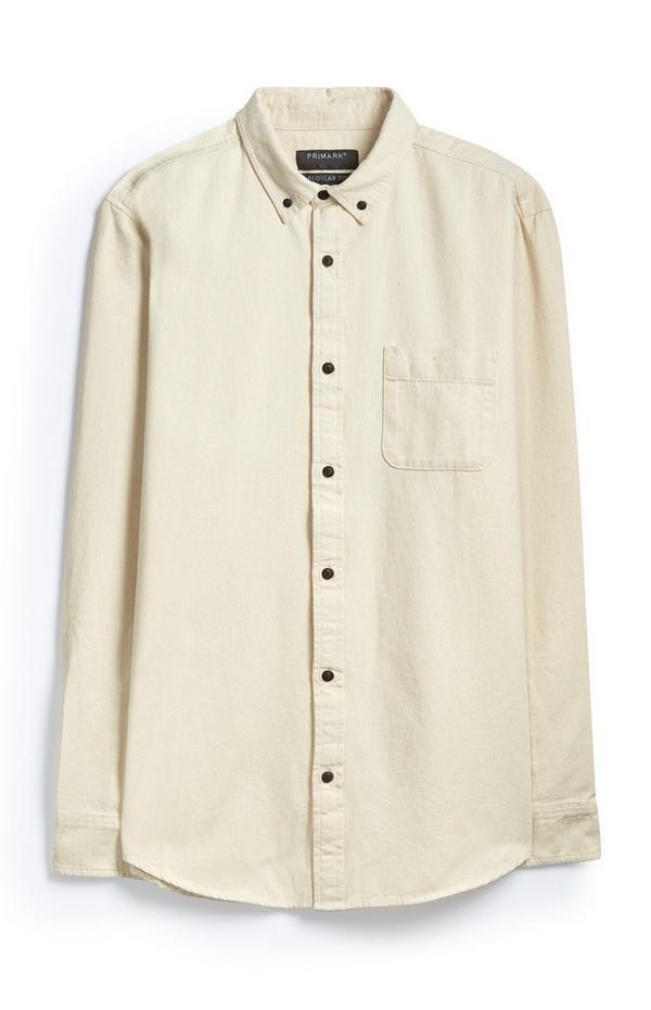 Camisa Oxford color crema