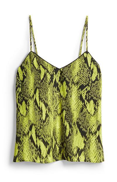 Falda lima con estampado de serpiente