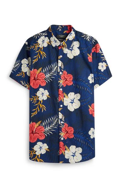 Gebloemd donkerblauw overhemd