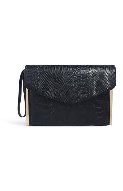 Črna ročna torbica s kačjim vzorcem