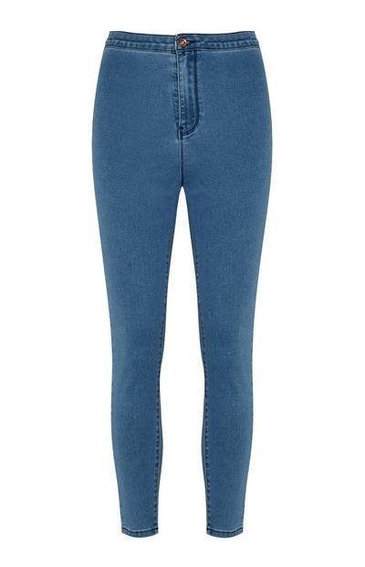 Calças ganga cintura subida azul-médio