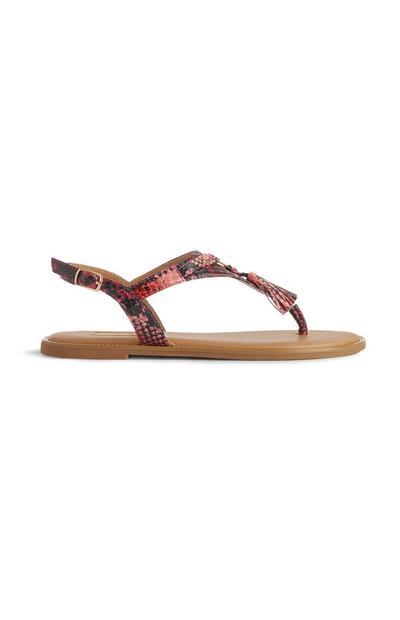 Sandaal met slangenprint