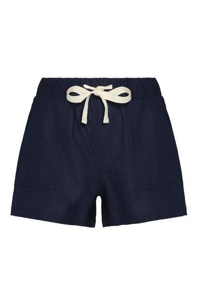 Mornarsko modre lanene kratke hlače
