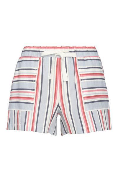Črtaste lanene kratke hlače