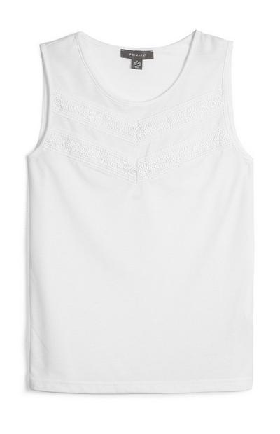 White Embroidered Sleeveless Top
