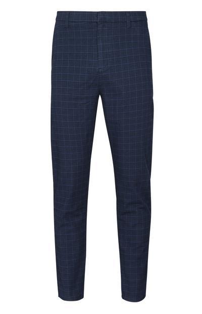 Pantaloni blu navy a quadri