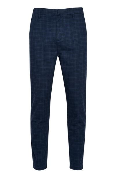 Blue Slim Check Pants