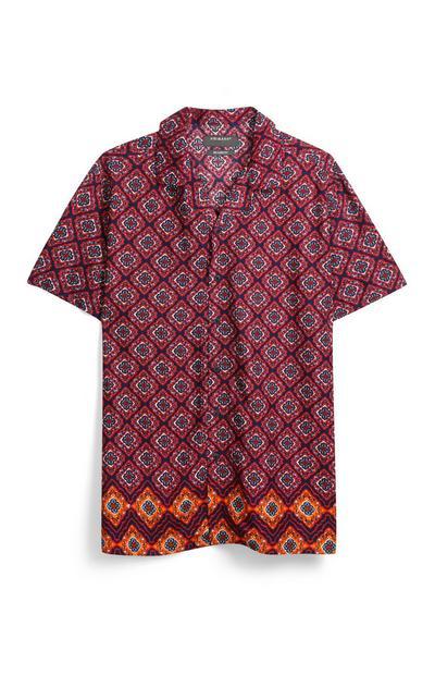 Overhemd met rode print
