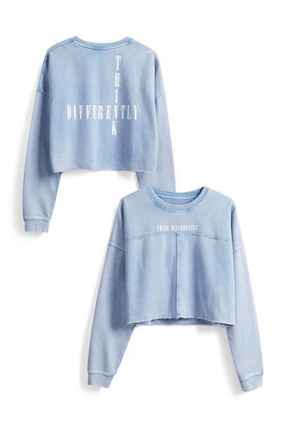 Blauwe korte sweater met tekst