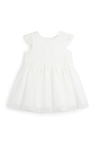 Vestido renda menina bebé marfim
