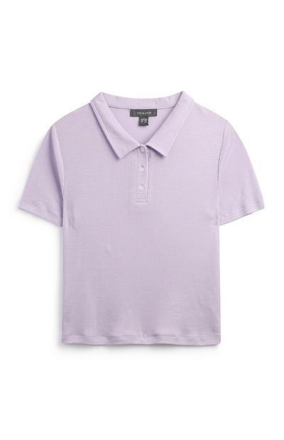 Geripptes T-Shirt in Flieder