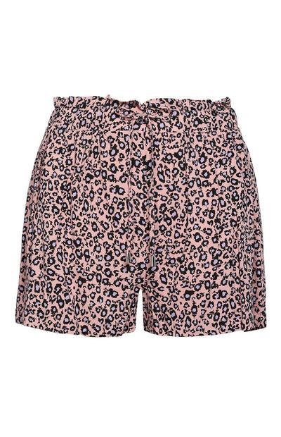 Rožnate kratke hlače z leopardljim potiskom