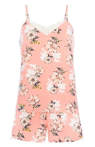 Koraalrode pyjamaset met bloemenprint