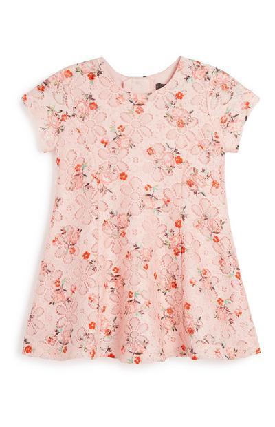 Robe rose à fleurs bébé fille