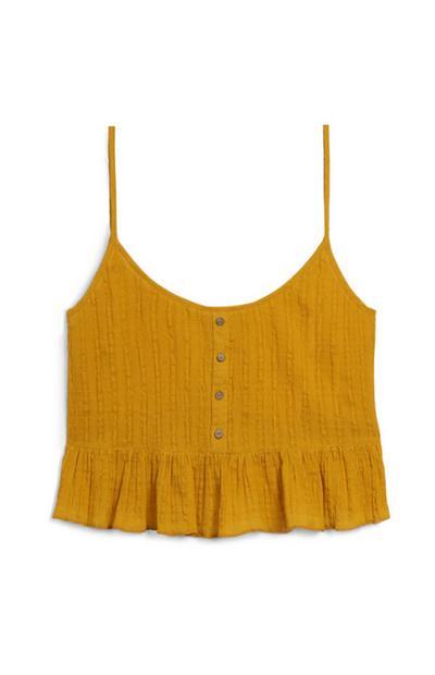 Gorčično rumena majica z naborki