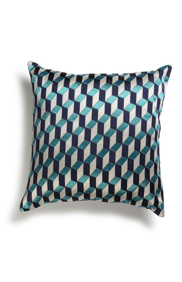 Coussin bleu à motifs