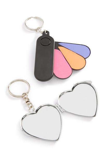 Komplet obeskov za ključe z ogledalom in s pilicami za nohte