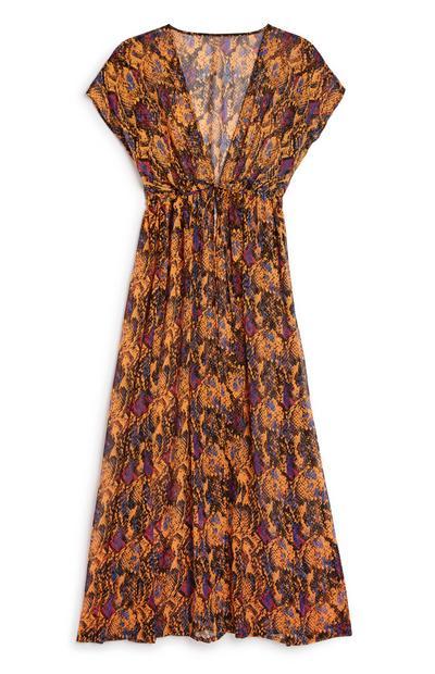 Kimono orange à imprimé serpent