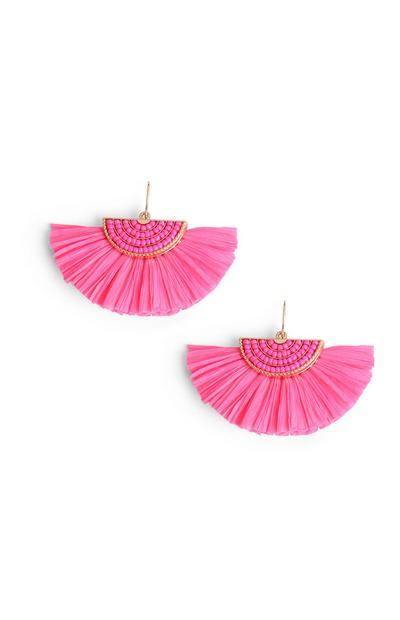 Roze waaiervormige oorbellen