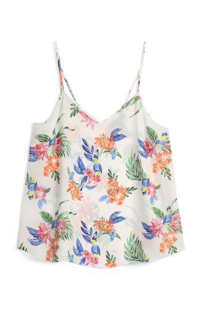 Majica z naramnicami in cvetličnim vzorcem