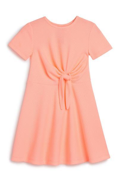Dekliška neonska obleka z zavezovanjem spredaj za dojenčke