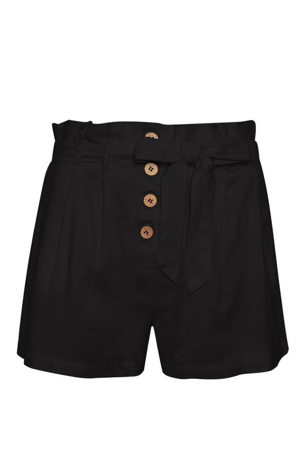 Black Linen Ruffle Shorts