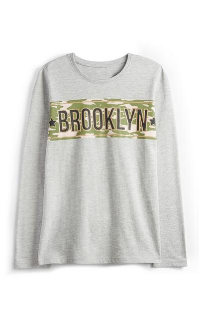 Camiseta gris Brooklyn para niña mayor