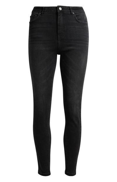 Schwarze Skinny-Jeans mit hohem Bund