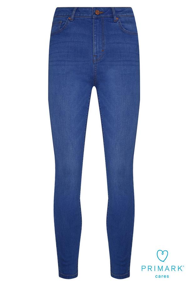 Blaue High-Waist-Jeans aus nachhaltiger Baumwolle