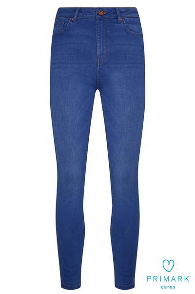 Jean bleu taille haute en coton durable