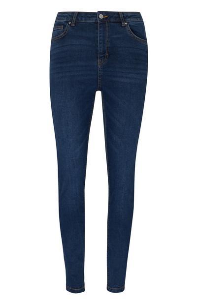 Donkerblauwe skinny jeans met hoge taille