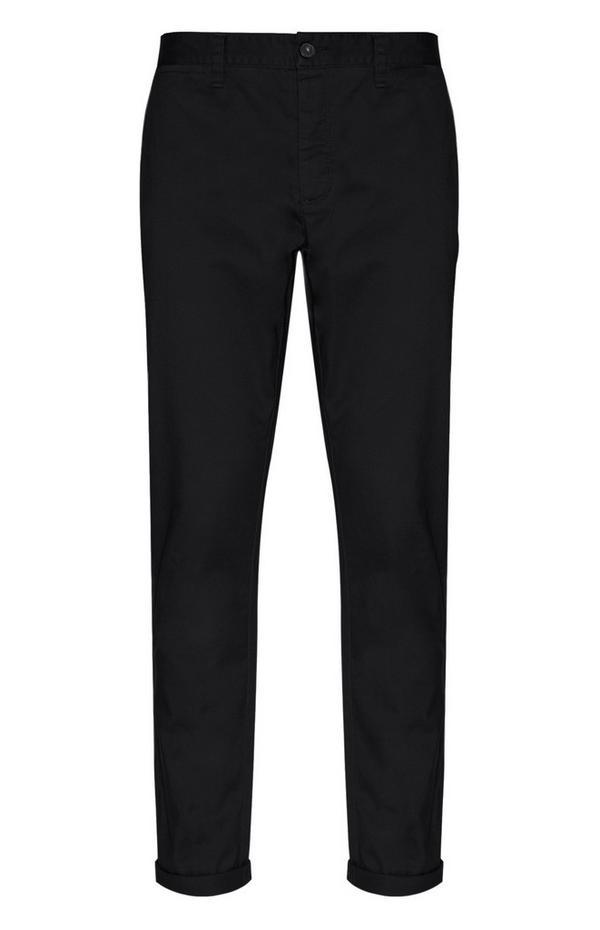 Črne raztegljive hlače chino