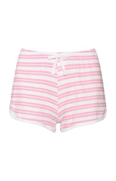 Pantalón corto rosa a rayas