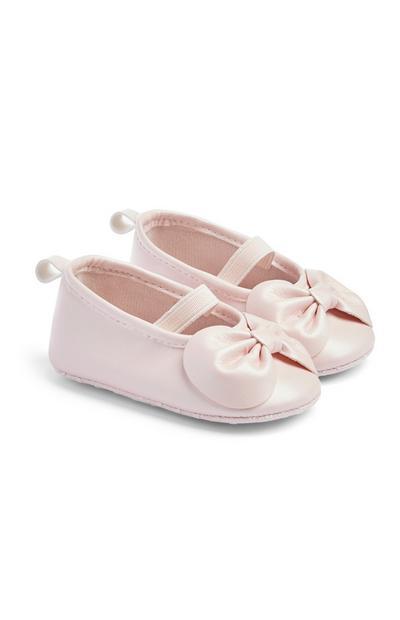 Sapatos laço menina bebé cor-de-rosa