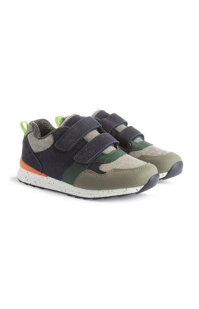 Sneakers met klittenband en kleurvlakken