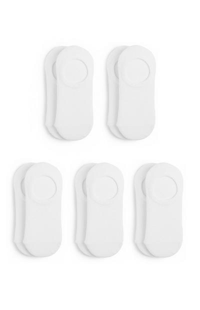 Weiße, unsichtbare Socken, 5er-Pack