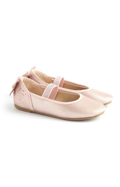 Younger Girl Pink Butterfly Ballerina Shoes