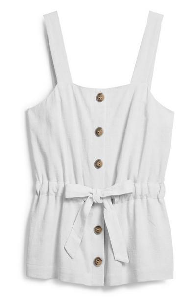 Slonokoščena majica z naramnicami in zatezno vrvico