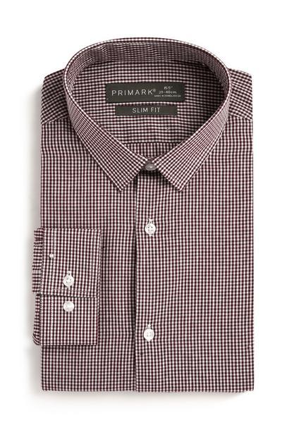 Donkerrood geruit overhemd