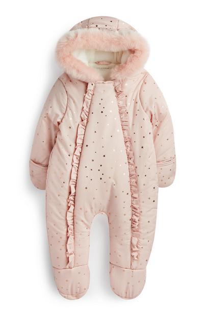 Fato neve recém-nascida cor-de-rosa