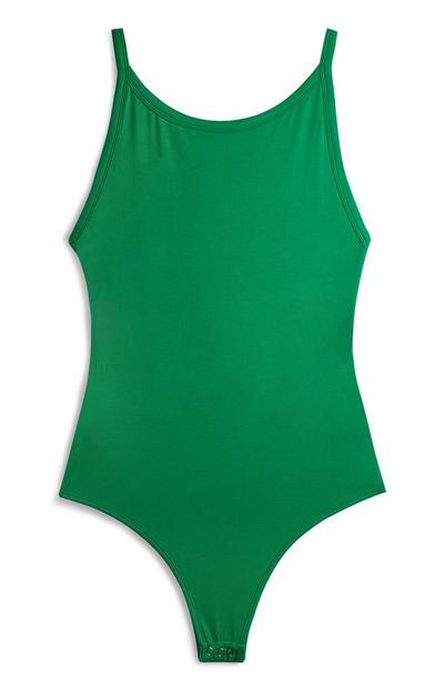 Grüner Body mit weitem Rundhalsausschnitt