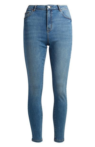 Blaue Skinny-Jeans mit hohem Bund